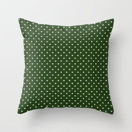 Small White Polka Dot Hearts on Dark Forest Green Throw Pillow