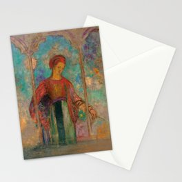"""Odilon Redon """"Woman in a gothic arcade - Woman with flowers"""" Stationery Cards"""