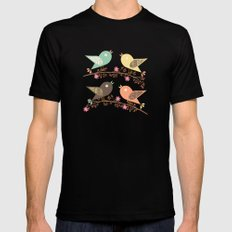 Four birds Mens Fitted Tee MEDIUM Black