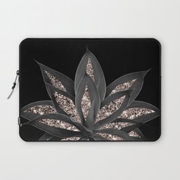 Gray Black Agave with Rose Gold Glitter #1 #shiny #tropical #decor #art #society6 Laptop Sleeve
