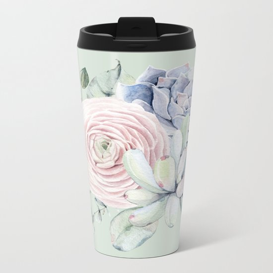 Mint Green + Pink Delight Succulents Metal Travel Mug