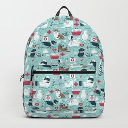 Veterinary medicine, happy and healthy friends // aqua background Backpack
