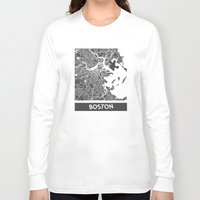 boston Long Sleeve T-shirts featuring Boston map by Map Map Maps