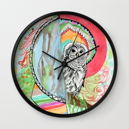 Owl Dreamcatcher Dream Wall Clock