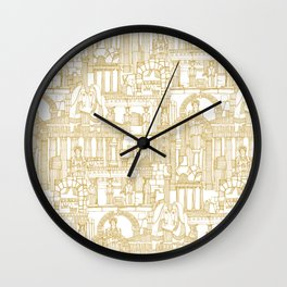 Ancient Greece gold white Wall Clock