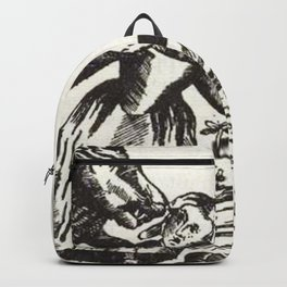 Werewolf attack Medieval etching Backpack
