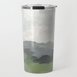Sky Blue and Forest Green Rural Country Farm Land Nature Abstract Painting Art Print Wall Decor  Travel Mug