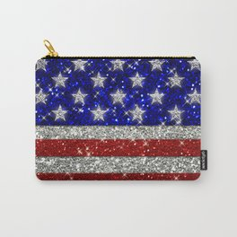 Glitter Sparkle American Flag Pattern Carry-All Pouch