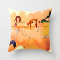 mermaids Throw Pillows featuring Mermaids by Leah Gonzales