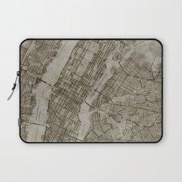 Warm Putty Beige Decor, Manhattan New York City, Antique Vintage Map Laptop Sleeve
