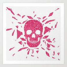 Girly Pink Glitter Abstract Skull Cool Photo Print Art Print
