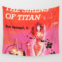 titan Wall Tapestries featuring Vonnegut -  The Sirens of Titan by Neon Wildlife
