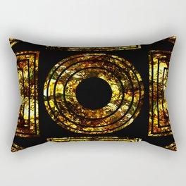 Golden Shapes - Abstract, black and gold, geometric, metallic textured artwork Rectangular Pillow