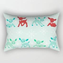 Red, Turquoise, and Jadeite Deer Rectangular Pillow