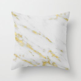 Marble - Shimmery Gold Marble on White Pattern Throw Pillow