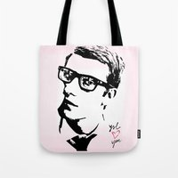 ysl Tote Bags featuring YSL loves you by cvrcak