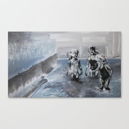 With toes dipped in a sea of concrete Canvas Print
