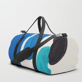 Mid Century Modern Retro Minimalist Colorful Shapes Phthalo Blue Marine Green Gradient Pebbles Duffle Bag