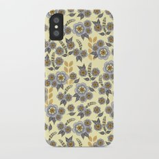 Golden floral with silver on beige Slim Case iPhone X