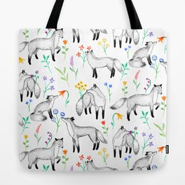 Fox Floral Tote Bag