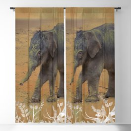 Cute Baby Elephant Blackout Curtain