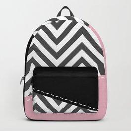 Gray Zigzag, Gray Chevron, Zigzag Pattern, Pink Backpack