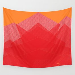 Colorful Red Abstract Mountain Wall Tapestry