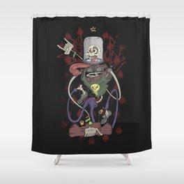 Skeleton on Skateboard Shower Curtain