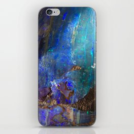Aqua geode opal iridescent holographic druse crystal quartz agate gem gemstone mineral stone photo iPhone Skin