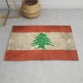 Old and Worn Distressed Vintage Flag of Lebanon Rug