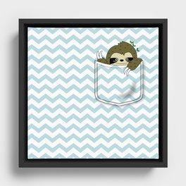 sloth in my pocket Framed Canvas