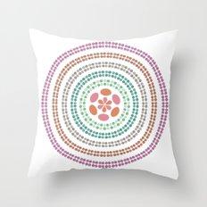 Retro floral circle 2 Throw Pillow
