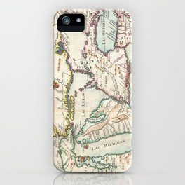 Vintage Map of The Great Lakes (1755) iPhone Case