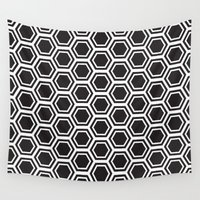 hexagon Wall Tapestries featuring hexagon pattern by dani