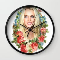 lindsay lohan Wall Clocks featuring Original Lindsay by Vivalaplastic