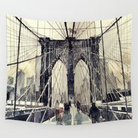 bridge Wall Tapestries featuring Brooklyn Bridge by takmaj