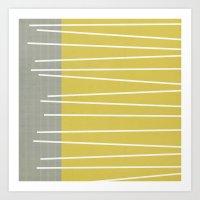 mid century modern Art Prints featuring MId century modern textured stripes by Michelle Drew