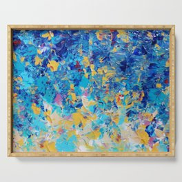 HYPNOTIC BLUE SUNSET - Simply Beautiful Royal Blue Navy Turquoise Aqua Sunrise Abstract Nature Decor Serving Tray