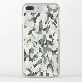 Army Camouflage Pattern Snowy Forest Clear iPhone Case