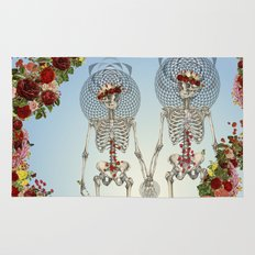 The Summer of Love anatomical skeleton collage art by bedelgeuse Rug