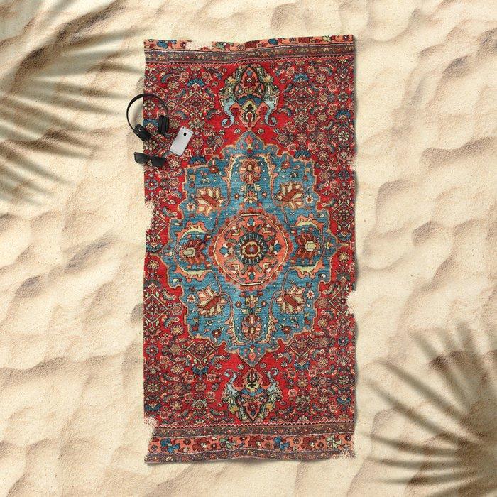 Bidjar Antique Kurdish Northwest Persian Rug Print Beach Towel
