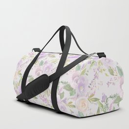 Blush lavender green watercolor hand painted floral Duffle Bag