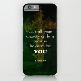1 Peter 5:7 Uplifting Bible Verses Quote iPhone Case