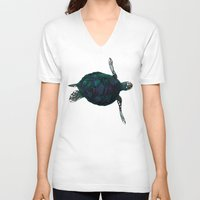 sea turtle V-neck T-shirts featuring Sea Turtle by Ben Geiger