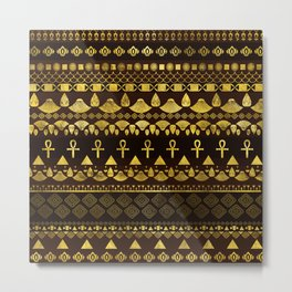Egyptian Ethnic Pattern gold on rich browns Metal Print