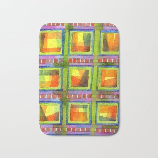 Light behind colorful geometric Windows Bath Mat
