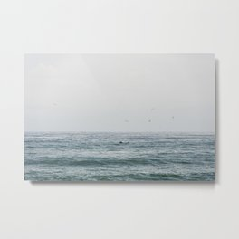 Lonely Dolphin blue summer seascape art Metal Print