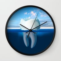 tooth Wall Clocks featuring Tooth Iceberg by Dan Cretu