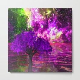 NEBULA TREE OCEAN REFLECTIONS Metal Print