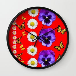 PURPLE PANSIES, WHITE DAISIES, MONARCH BUTTERFLIES RED ART Wall Clock